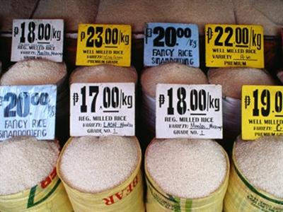 Giá gạo nội địa Philippines 8 tháng đầu năm tăng mạnh