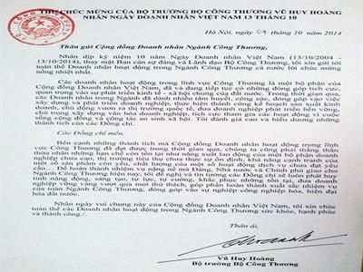 Bộ trưởng Công thương gửi thư chúc mừng 10 năm ngày Doanh nhân Việt Nam
