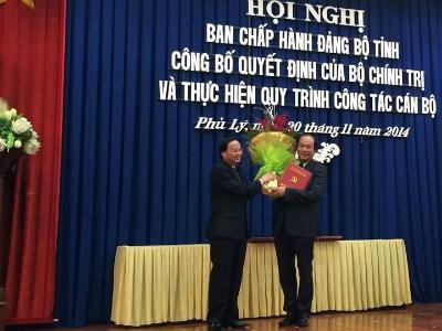 Hà Nam có Bí thư tỉnh Ủy, Chủ tịch UBND mới