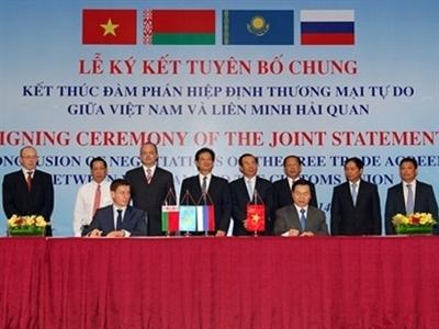 Ký tuyên bố chung kết thúc đàm phán FTA Việt Nam-Liên minh Hải quan