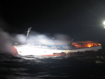 Hai người Việt mất tích trên tàu cháy Hàn Quốc