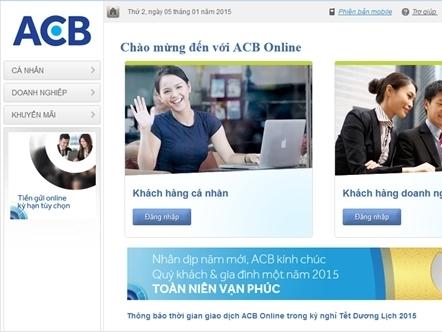 ACB thay đổi nhận diện thương hiệu trên website chính thức