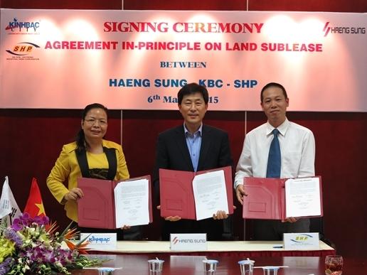 Haeng Sung ký hợp đồng thuê 10 ha đất tại KCN Tràng Duệ của KBC