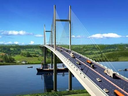 Xây cầu dây văng Bình Khánh trên tuyến cao tốc Bến Lức-Long Thành