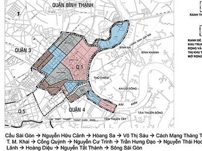Mở rộng và chia trung tâm TPHCM thành 5 phân khu