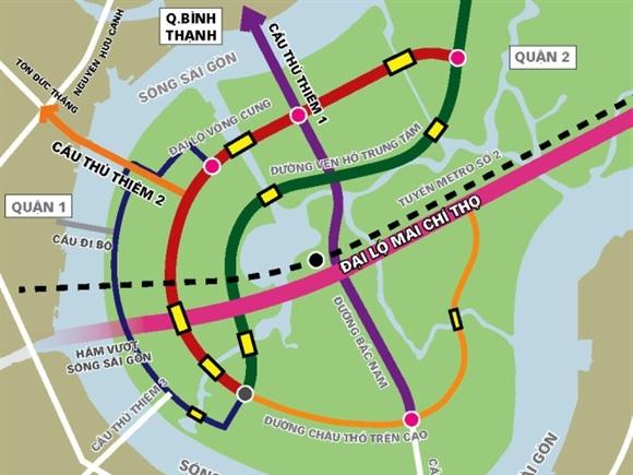 Cuối 2016, 4 tuyến đường chính Khu Thủ Thiêm có thể chạy xe