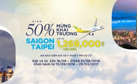 Vanilla Air giảm giá 50% hành trình Saigon – Taipei