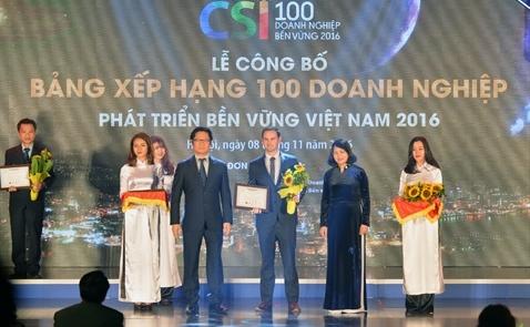 Heineken Việt Nam xếp hạng 3 trong 100 doanh nghiệp phát triển bền vững 2016
