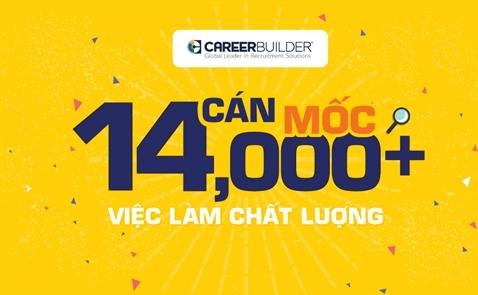 Tháng 3/2017, CareerBuilder Vietnam chính thức cán mốc 14.000 việc làm đăng tuyển