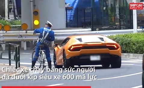 Cảnh sát Nhật dùng xe đạp đuổi bắt siêu xe Lamborghini Huracan