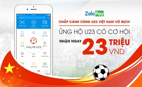 Người dùng Zalo Pay có thể lì xì trực tiếp cho U23 Việt Nam