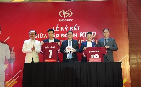 Quang Hải, Tiến Dũng ký hợp đồng làm Đại sứ thương hiệu KIDO