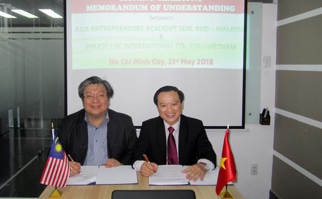 Công ty TNHH Phuoc Loc International và Học viện Doanh nhân Châu Á ký biên bản ghi nhớ