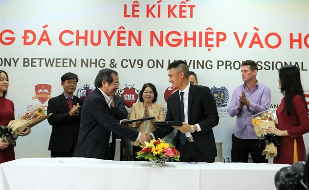 Nguyễn Hoàng hợp tác với Công Vinh đưa bóng đá chuyên nghiệp vào học đường