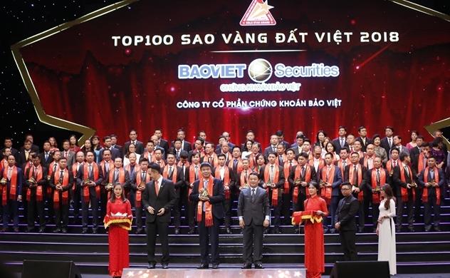Chứng khoán Bảo Việt được vinh danh trong top 100 sao vàng đất Việt 2018