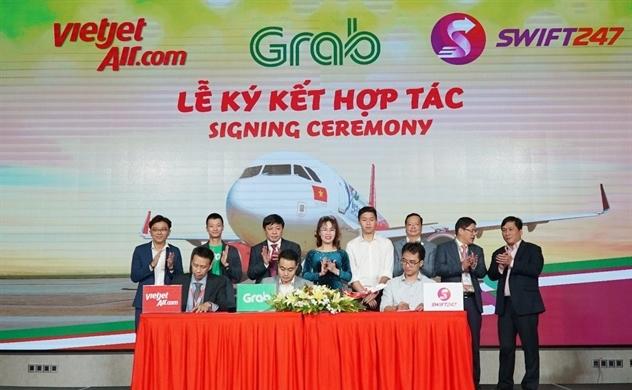 Vietjet, Swift247 và Grab ký kết thỏa thuận hợp tác toàn diện