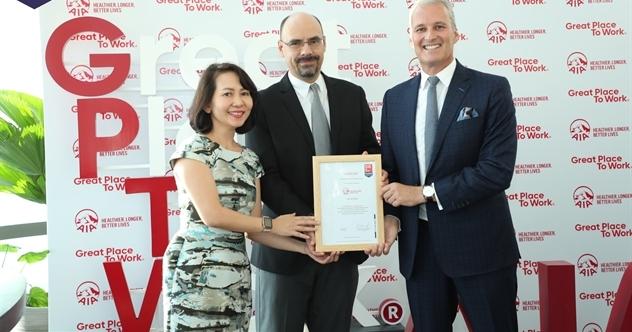 AIA Việt Nam được vinh danh là doanh nghiệp có 'Môi trường Làm việc Lý tưởng'