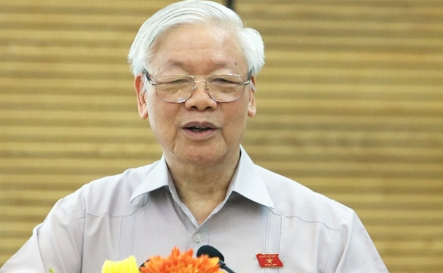 Party chief re-elected for third term