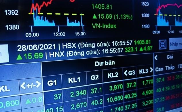"""""""Đoàn tàu"""" VN-Index chính thức cán đích 1.400 điểm"""
