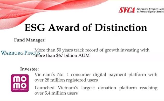 MoMo giành giải thưởng phát triển bền vững của SVCA